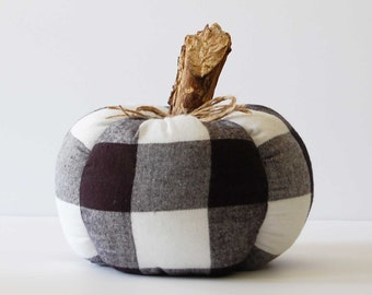 Black and White Buffalo Plaid Pumpkin, Fall Farmhouse Decor, Fabric Pumpkins, Halloween, Buffalo Check Decor, Autumn Decoration, Flannel