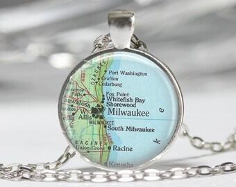 Milwaukee Jewelry Milwaukee Necklace Map Jewelry Genealogy Necklace