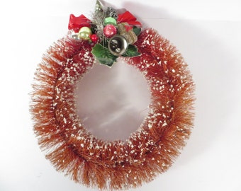 Vintage Red Bottle Brush Wreath - Red Bristle Brush Christmas Wreath