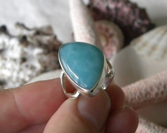 Larimar Ring Handmade Ring Natural Dominican Larimar 21x14mm Blue Gemstone Sterling Silver Ring Size 7 3/4 Take 20% Off Blue Larimar Jewelry