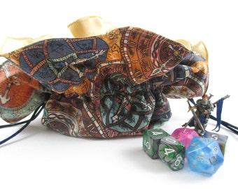 Steampunk Clock Faces Round Drawstring Bag, Dice Bag, Gift Bag, Large Size
