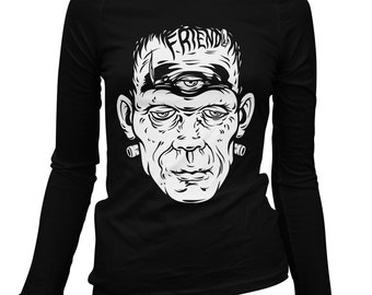 Women's Friend Frank Long Sleeve Tee - S M L XL 2x - Ladies' T-shirt, Frankenstein, Monster, Halloween - 1 Color