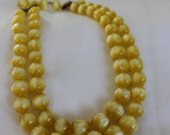 Pale Yellow Multi Strand Chunky Necklace