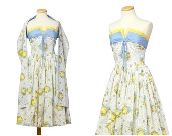 Rare Horrockses 50s Dress // Vintage Shelf Bust Floral Blue Yellow With Shawl Two Piece Set