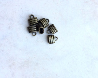 Two hole antique brass Plated  leather end caps