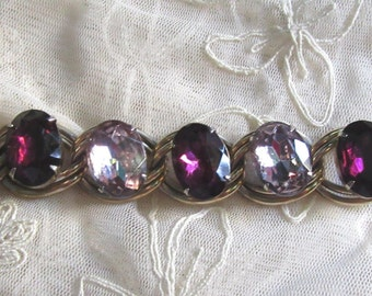 "Vintage 1960's Amethsyt and Lilac Purple Rhinestone Bracelet 7 1/4""  Destash Smaller Wrist Vintage Costume Jewelry Bracelets"