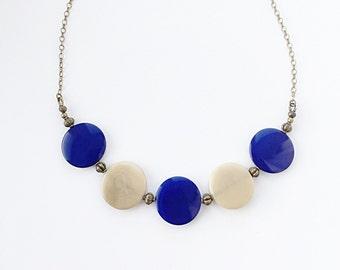 Tagua Nut Jewelry - Blue Tagua Necklace - Round Pendant - Nut Jewelry - Navy Blue Jewelry - Eco Friendly Tagua