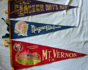 3 Vintage Vacation Banners 50/60's