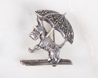 Vintage Scottie Dog with Umbrella Marcasite Sterling Silver Pin / Brooch