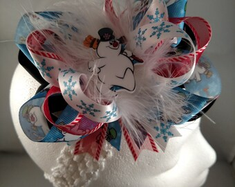 Christmas Frosty the Snowman Blue Black Red and White Over-The-Top Hair Bow Hairbow