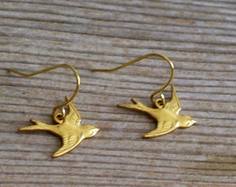 Tiny Gold Bird Earrings, Gold Swallow Earrings, Gold Brass Bird Pierced Earrings, Gold Bird Jewelry Gift Idea, Girl Jewelry