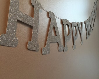 "Glitter ""Happy Birthday"" banner"