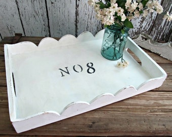 No 8 Painted Distressed Tray
