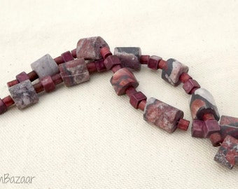 Smooth matte stone and vintage ceramic beads, two 7 inch strands