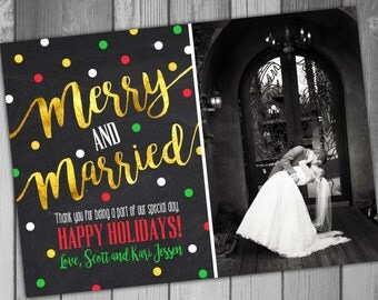 Wedding Thank You Card Christmas Thank Holiday Thank Christmas Photo Wedding Photo Chalkboard Merry And Married And Merry