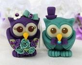 Owl wedding cake topper, teal purple love birds, custom bride and groom with banner