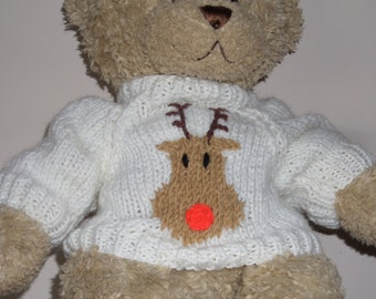 Christmas Teddy Bear Sweater - Hand knitted - Winter White Rudolph the Red Nosed Reindeer