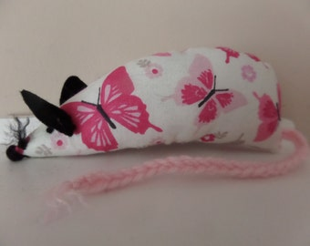 Catnip Mouse - Pink Butterflies design - Cat Toy