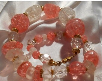 40% OFF SALE Eisenberg Pink and White Large Lucite Bead Statement Necklace