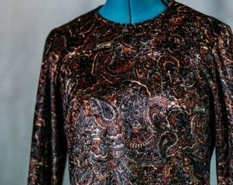 Handmade vintage women's shirt / small / velvet / brown / floral