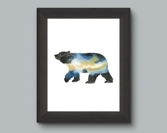 Space Bear Watercolor Art Print, Rustic Modern Wall Decor, Nebula Print, Blue Yellow Stars, Ursa major Art Nerd  Forest Cabin Art