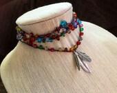 Rainbow Connection: Versatile crocheted necklace / bracelet / belt / headband