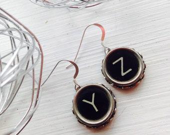 Sterling Typewriter Key Earrings