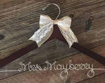 Wedding Hanger / Bridal Hanger / Personalized Custom Hanger / Bride Hanger / Name Hanger / Mrs. Hanger / Personalized Bride Gift