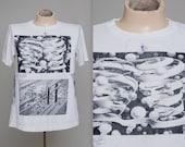 90s MC ESCHER Allover Print T-Shirt Multi Print Double Sided Art Drawing Tee