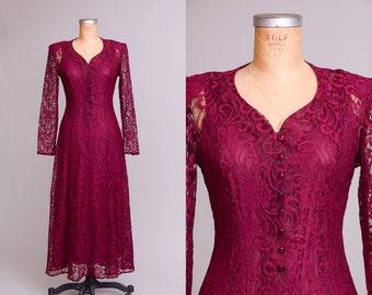 90s Crimson Lace Burnout Corset Back Button Down Goth Maxi Dress