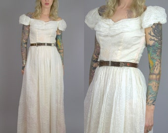 1930s Cotton Dress Bullocks Los Angeles Evening Room White Cotton Eyelet Full Length Formal Dress