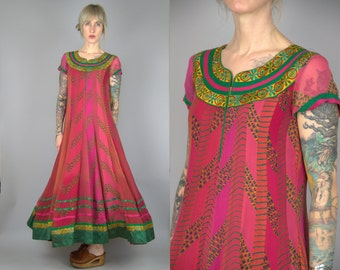 Indian Festival Dress Bright Pink and Green Silk Folk Maxi Dress