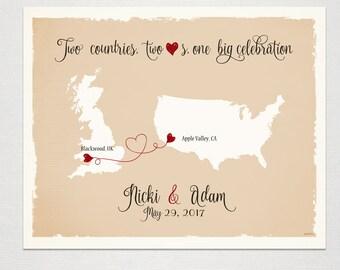 UK - USA Custom Wedding Print Destination Wedding Gift Memento Marriage Couple print Signature Guest Books Map Wedding Signature Map