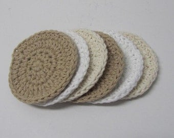Crochet Face Scrubbies, Face Pads - set of 6 - Ready to Ship