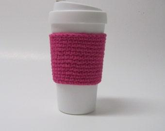 Coffee Cup Cozy Tea Sleeve - Pink