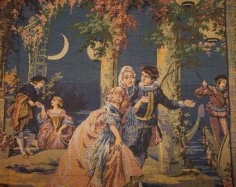 "Antique BELGIUM Tapestry..Large..20"" by 36""...FREE Shipping"