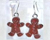 Gingerbread Man Christmas Charm Handcrafted Dangle Earrings, Handmade Original Christmas Character Earrings Festive Holiday Teen Ladies Gift