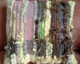 "Hand Woven Cushion  -  Natural Dyed Wool Pillow Cover - 18"" x 16.5""  Pink, grey, cream, yellow, grey handspun"