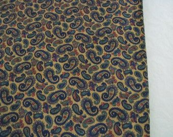 "Vintage Paisley Pinwale Corduroy Cotton Fabric 36"" Wide 4.75 Yards Long"