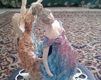 ceramic dancer figurines-modern ballet dance-female figurative sculpture-pottery figures-ballroom dancing-ornaments-contemporary-decorative