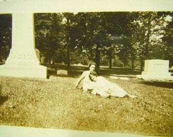 Vintage Snapshot Photo - Ladies Lounging in The Cemetery - Grave Yard