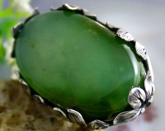 Chrysoprase Ring Statement Ring Sterling Silver Jewelry
