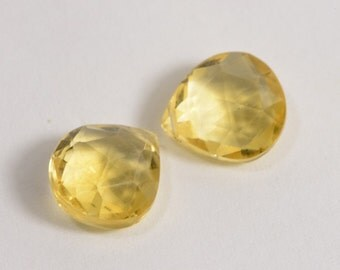 Citrine 2 beads Faceted Citrine Beads Natural  Gemstone Briolette Jewelry Making Supplies