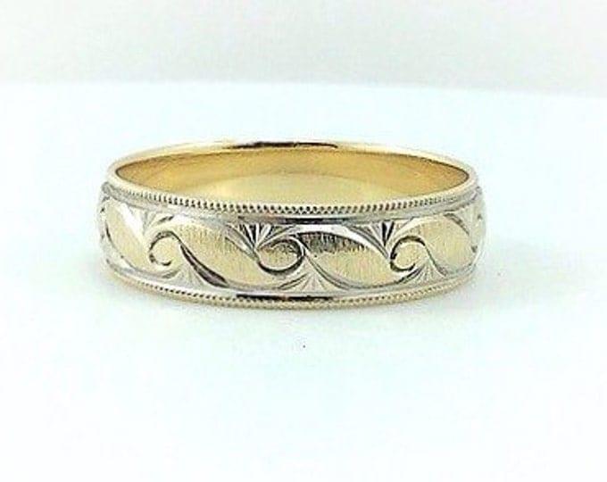 Vintage Solid Gold Mens Wedding Ring, Mens Band Ring, Vintage Solid 10k gold engraved wedding ring. band gold ring. Mens Estate rings