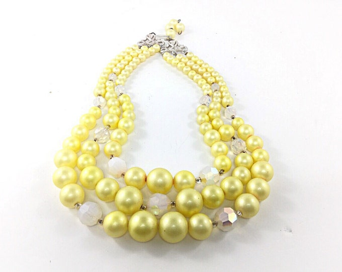 Vintage Soft Yellow Necklace, Opal and aurora borealis beads. Multistrand Beaded Necklace. Yellow three strand necklace Yellow Plastic