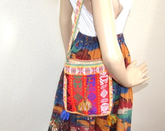 Vintage Mayan hippie bag Ethnic Woven cross body tassle bag  hand made Boho shoulder bag   Unisex gift for her or him