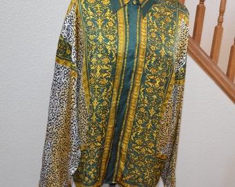 Vintage Seta Dolce silk  green yellow blouse  1980s secretary shirt size 2XL Christmas gift for her