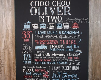 "Favorite Things Poster™ custom first birthday chalkboard style ink drawing on 16""x20"" canvas"