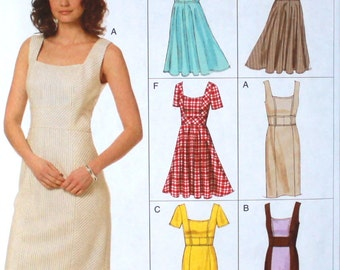 Vogue Pattern V8648 FREE SHIPPING Easy Pattern Plus Size Dress Pattern, Mid Knee, High Waist, Sheath, Straight Skirt, Bias Waist,