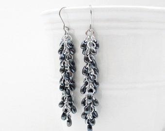 Dark gray beaded chainmail earrings, chainmail jewelry, long dangle earrings, shaggy loops weave